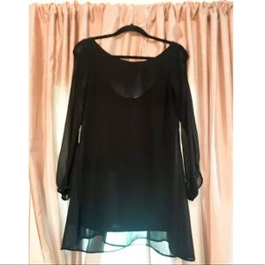 Boutique See-Through Sleeved Little Black Dress